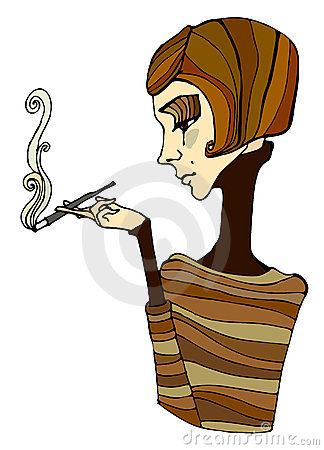 Illustrated cute smoking girl