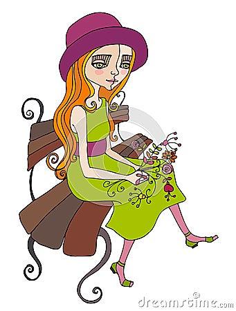 Illustrated cute summer girl