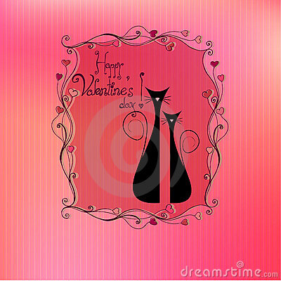 Illustrated cute valentine s day cats