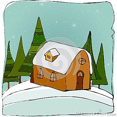 Illustrated cute winter landscape