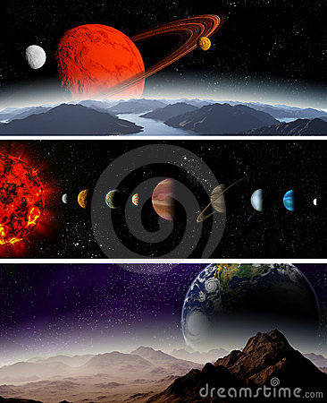 Illustrated diagram showing the planets