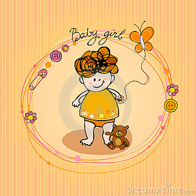 Illustrated doodle Baby arrival card