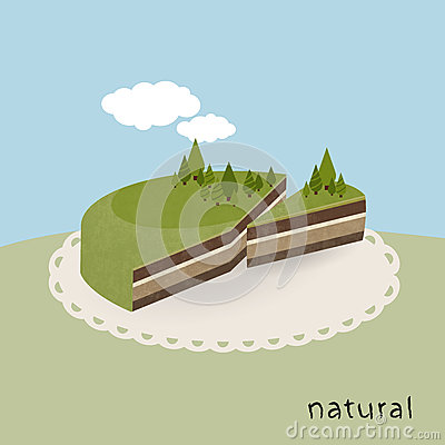 Illustrated Earth cake - natural pie.
