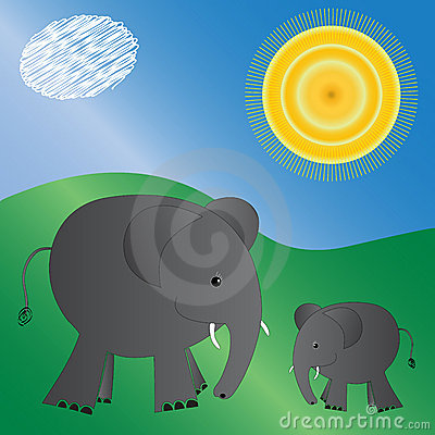 Illustrated elephants
