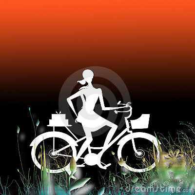 Illustrated female cyclist