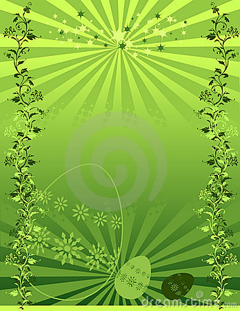 Illustrated green floral background