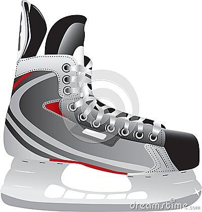 Illustrated ice hockey skate