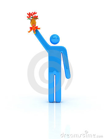 Illustrated man holding trophy