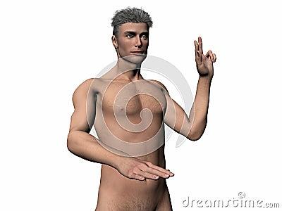 Illustrated man taking oath.