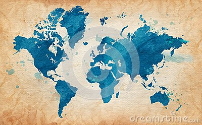 Illustrated map of the world with a textured background and watercolor spots. Grunge background. vector Vector Illustration