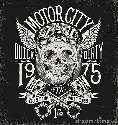 Free Illustrated Motorcycle Skull With Helmet And Goggles. Vintage Typography Layout. Stock Photos - 107928053