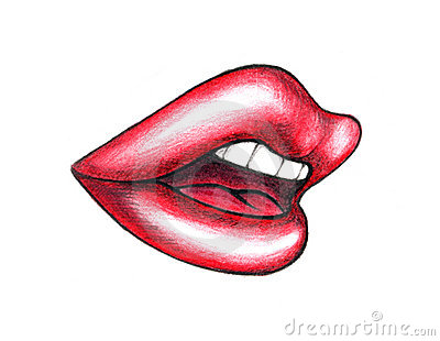 Illustrated mouth with red lips