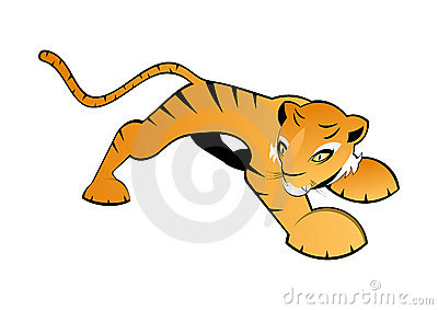 Illustrated orange tiger
