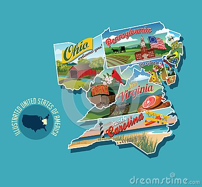 Illustrated pictorial map of eastern United States. Vector Illustration