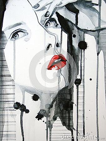 Illustrated portrait of beautiful girl