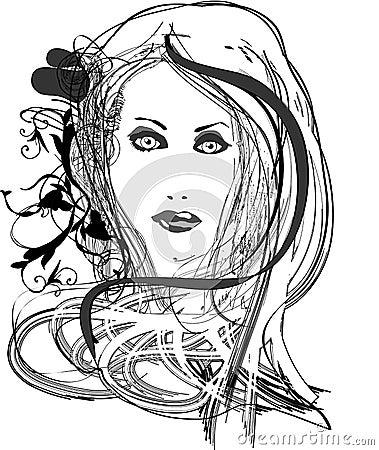 Illustrated pretty woman