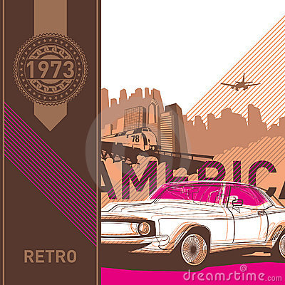 Illustrated retro background.