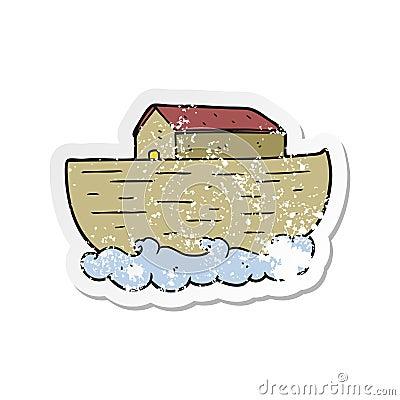retro distressed sticker of a cartoon noahs ark Vector Illustration