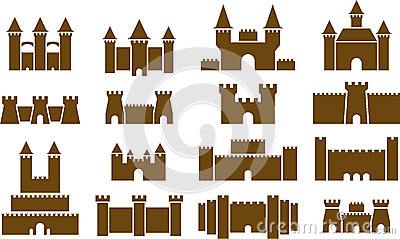 illustrated set of castles
