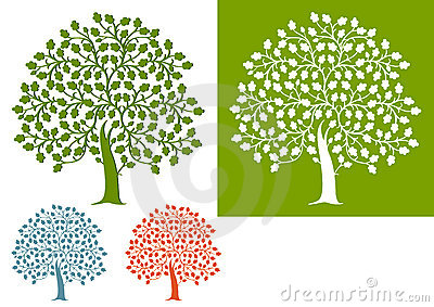 Illustrated set of oak trees