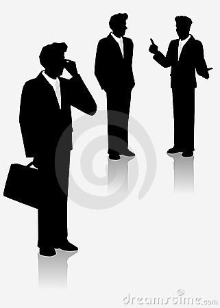 Illustrated silhouettes of businessmen.
