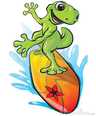 Illustrated surfing frog