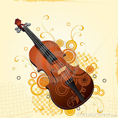 Illustrated violin with design