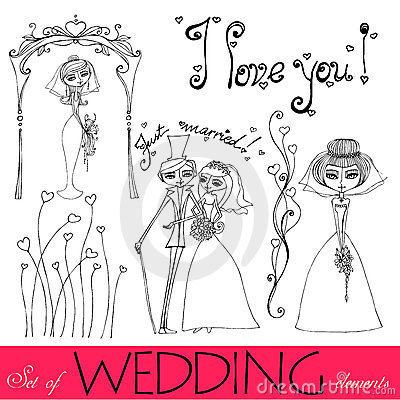 Illustrated wedding elements