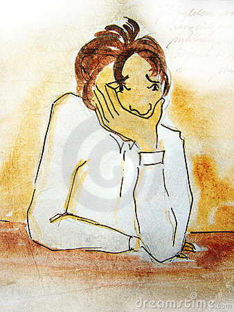 Illustrated worried boy