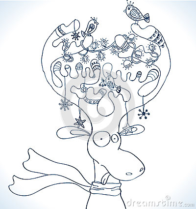 Illustratie van de herten van Kerstmis met sjaal
