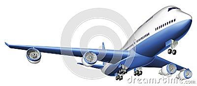 Illustratie van een groot passagiersvliegtuig