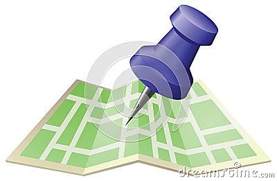 Illustratie van een straatkaart met de speld van de tekeningsduw