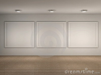 Illustratie van museumbinnenland met frames