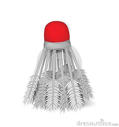 Illustratie van realistisch die badmintonvogeltje op witte bac wordt geïsoleerd
