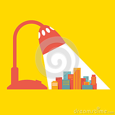 Free Illustration: A Big City Under The Light Of A Desk Royalty Free Stock Photography - 37615147