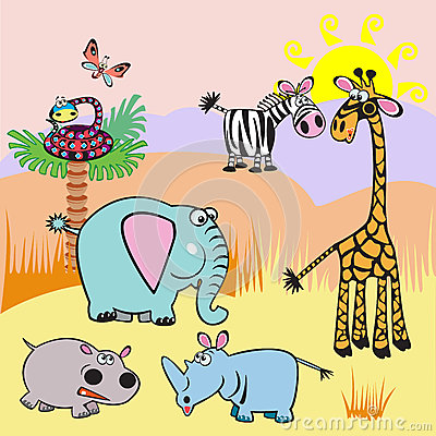 Illustration with Africa cartoon animals