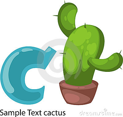 Illustration alphabet letter c-cactus
