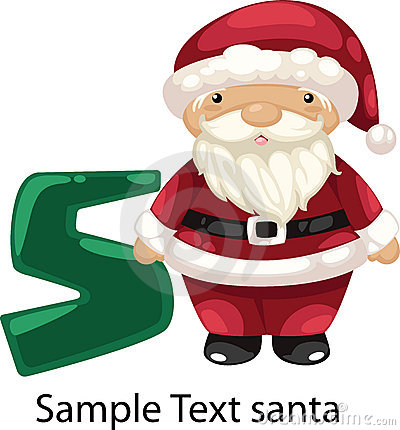 Illustration alphabet letter s-santa
