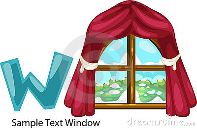 Illustration alphabet letter w-window