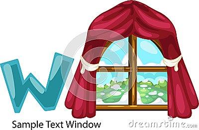 Illustration alphabet letter w-window