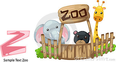 Illustration alphabet letter z-zoo