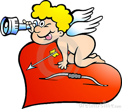 Illustration of an Amor Angel Boy looking for
