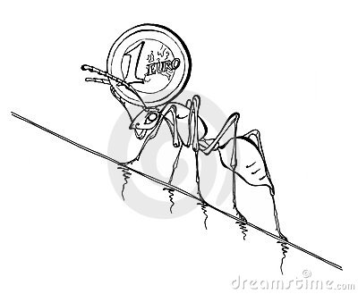 Illustration of an Ant pushing Euro