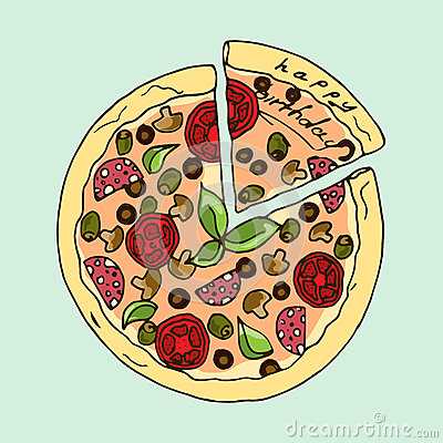 Free Illustration. Appetizing Pizza. Happy Birthday. Stock Photos - 59237653