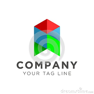 Illustration of the arrow logo in blue and green red Vector Illustration