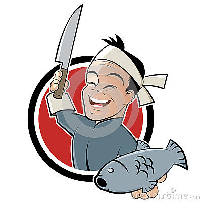 Asian chef with fish