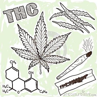Illustration av narkotiskt preparat - marijuana