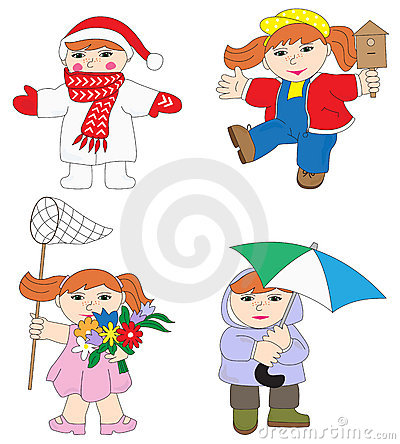 Illustration of baby girl in different season