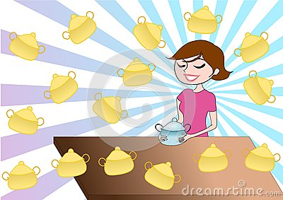 Illustration background of girl with cooker