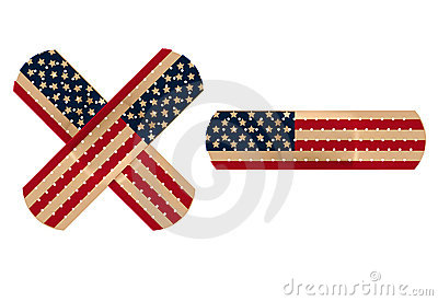 Illustration of bandage with US flag